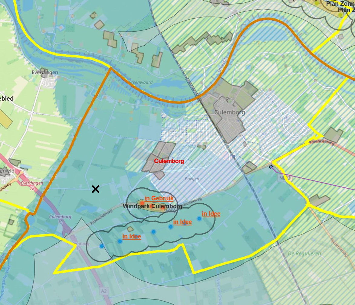 kaart culemborg met planning winmolens